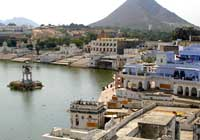Rooftop View of Pushkar Lake and Town